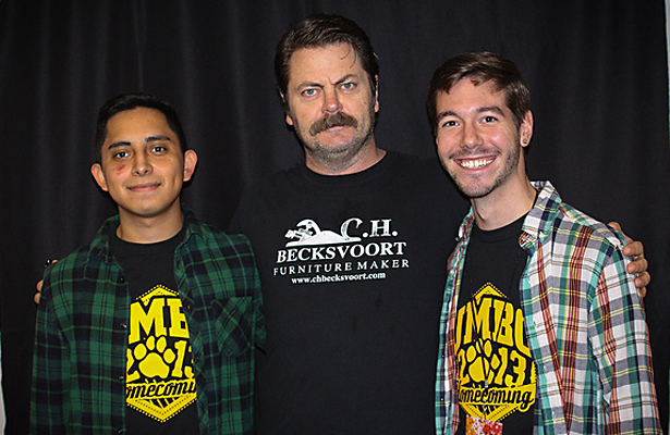 The always funny Nick Offerman is here to promote NASCAR. Photo Courtesy: UMBC Student Events Board