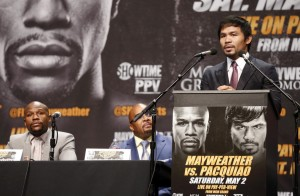 Manny Pacquiao speaks at a news conference for his upcoming bout against Floyd Mayweather in Los Angeles