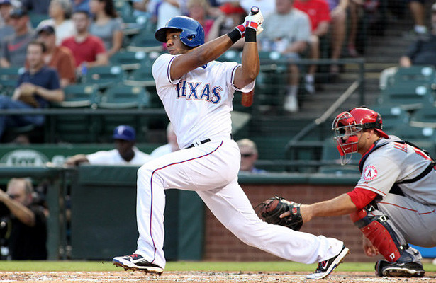 Elvis Anrus went yard for the first time this season in the Rangers victory over the Angels. Photo Courtesy: Dominic Ceraldi