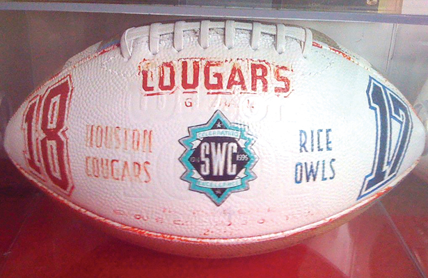 The game ball from the 1995 Bayou Bucket Classic, the last football game in Southwest Conference history. Photo Courtesy: Brian Reading