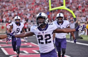 Aaron Green saved the day and perhaps the season for TCU with his game winning reception at Texas Tech. Photo Courtesy: Dominic Ceraldi