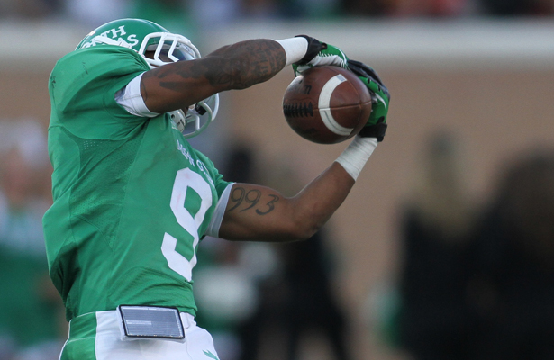 Carlos Harris had a huge game for the Mean Green with 8 receptions for 193 yards and 2 touchdowns. Photo Courtesy: Sandy McAnally