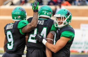Carlos Harris led all Mean Green receivers with 5 catches for 43 yards. Photo Courtesy: Sandy McAnally