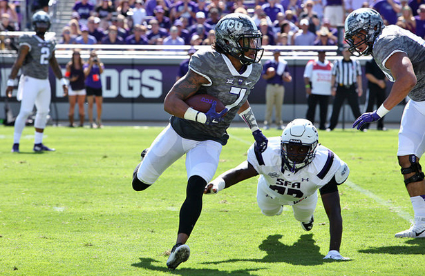 The TCU Horned Frogs are lucky to have Kolby Listenbee as a speedster. Photo Courtesy: Dominic Ceraldi