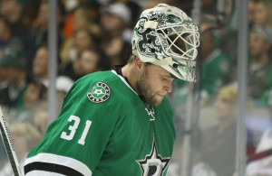 Flip or flop. Yet another Stars benching in-between the pipes on Tuesday. Which Stars goalie does Lindy Ruff trust more? Photo Courtesy: Michael Kolch