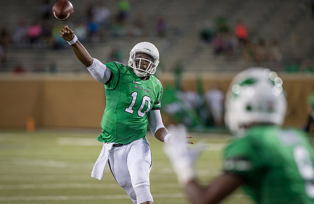 The Mean Green chances of winning on Saturday rests squarely on the arm of DaMarcus Smith. Photo Courtesy: Sandy McAnally