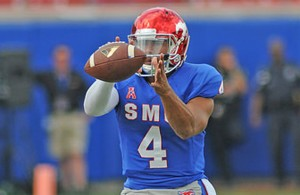 If Mustangs quarterback Matt Davis can keep turnovers to a minimum SMU can win on Saturday. Photo Courtesy: Joseph Dowling