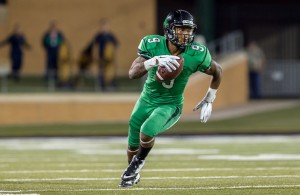 Mean Green WR Carlos Harris was able to find the end zone and hauled in 5 catches for 74 yards against the Bulldogs. Photo Courtesy: Sandy McAnally