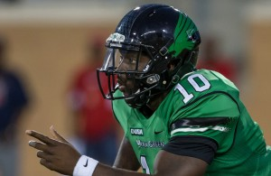 Mean Green QB DaMarcus Smith will have to use his arm and legs to make plays against the Bulldogs. Photo Courtesy: Sandy McAnally