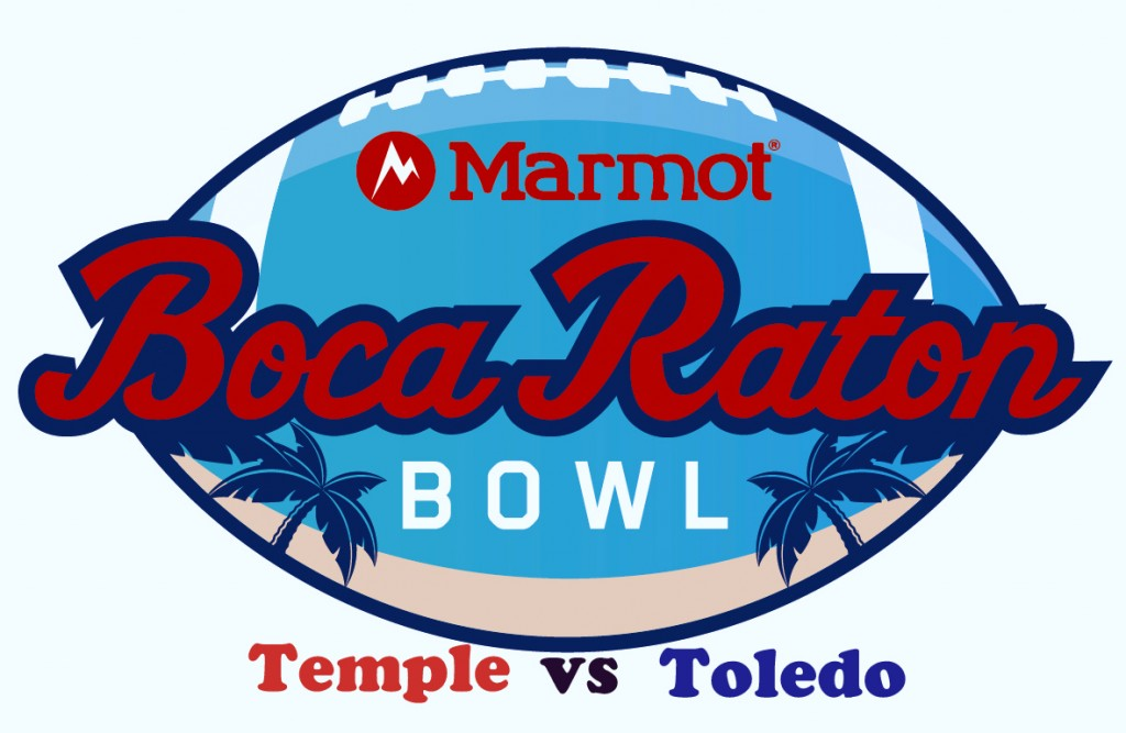 The Marmot Boca Raton Bowl features a matchup between Temple Owls (10-3) and Toledo Rockets (9-2).