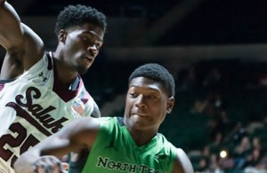 Mean Green Guard Ja'Michael Brown doing his things against the Salukis. Photo Courtesy: Bruce Chandler