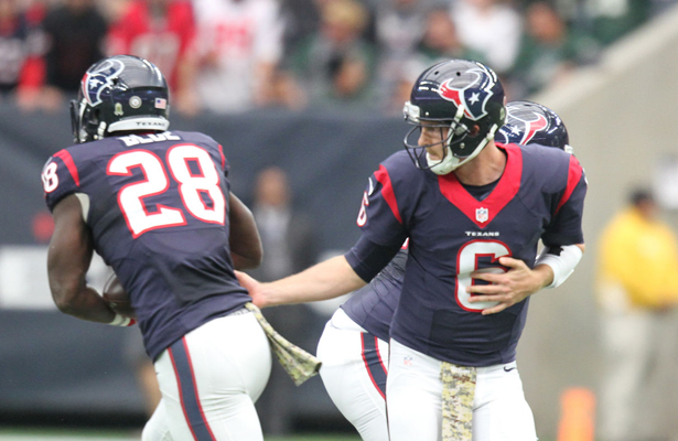 Texans fans hope to see plenty of QB T.J. Yates handing the ball off to RB Alfred Blue in the 4th quarter. Photo Courtesy: Rick Leal