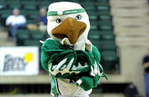Even the UNT Mascot is frustrated with the play of the Men's Basketball team. Photo Courtesy: Joe Lorenzini