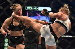 Holly Holm defeated former champion Ronda Rousey with a clean kick to the jaw. Photo Courtesy: YouTube