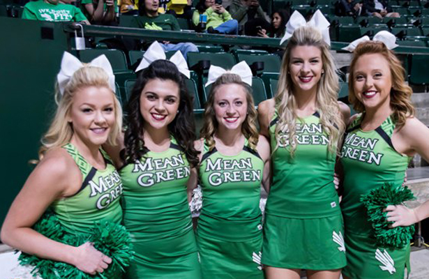 These cheerleaders have a lot to cheer about for the UNT Mean Green Men's Basketball team. Photo Courtesy: Bruce Chandler