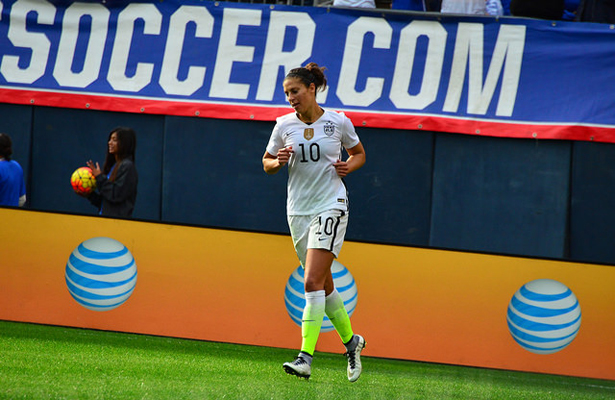 U.S. WNT's Carli Lloyd has a little extra pep in step these days. Photo Courtesy: Love @ll