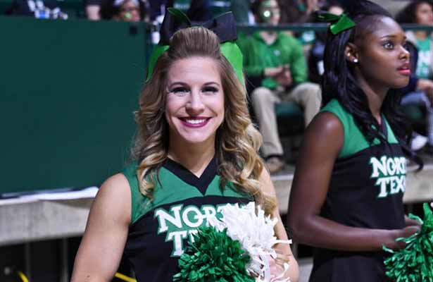 The UNT Men's Basketball team, cheerleaders and fans are all smiles with back-to-back wins. Photo Courtesy: Bruce Chandler