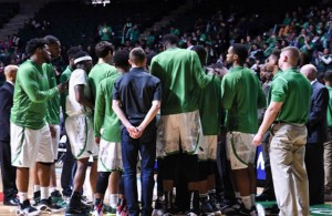 It's time to rally the troops for the UNT Men's Basketball team. Photo Courtesy: Bruce Chandler