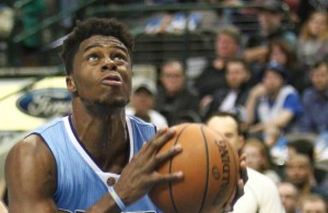 Denver Nuggets PG Emmanuel Mudiay has had the hot hand as of late helping string together three straight wins. Photo Courtesy: Michael Kolch