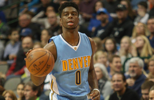 Nuggets PG Emmanuel Mudiay is coming along nicely as evidenced by his 25 points on Friday as well as a key steal and basket on Sunday to against the Mavericks to send the game to OT. Photo Courtesy: Michael Kolch