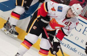 The Calgary Flames trade Kris Russell to the Dallas Stars fro Jyrki Jokipakka, Brett Pollock and a draft pick. Photo Courtesy: Sarah A.