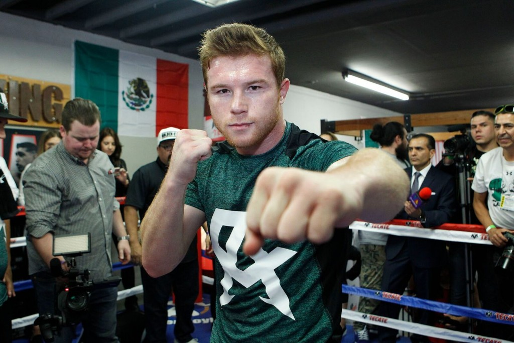 Canelo Alvarez prepares for his upcoming match with Amir Kahn. Photo Credit: Golden Boy Promotions
