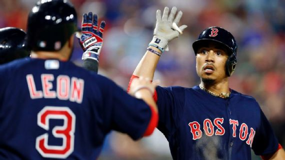 Mookie Betts celebrates game tying home run. Photo Courtesy: MLB.Com