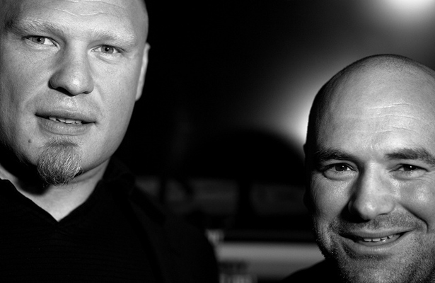 Reunited at UFC 200, Brock Lesnar (left) and Dana White (right) were all smiles. Photo Courtesy: Peiyu Liu