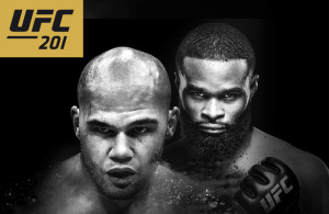 This Saturday night, Robbie Lawler (l.) will defend his title against Tyron Woodley (r.)