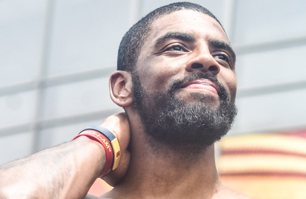 Kyrie Irving was all smiles after a hard fought victory over Australia. Photo Courtesy: Erik Drost