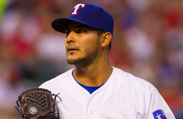 Martin Perez evened his season record to 8-8 with his win over the A's. Photo Courtesy: Darryl Briggs