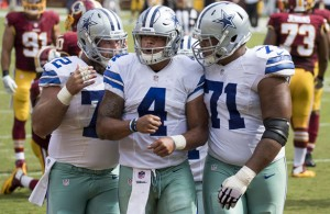 Cowboys QB Dak Prescott knows that his o-line have his back. Photo Courtesy: Keith Allison