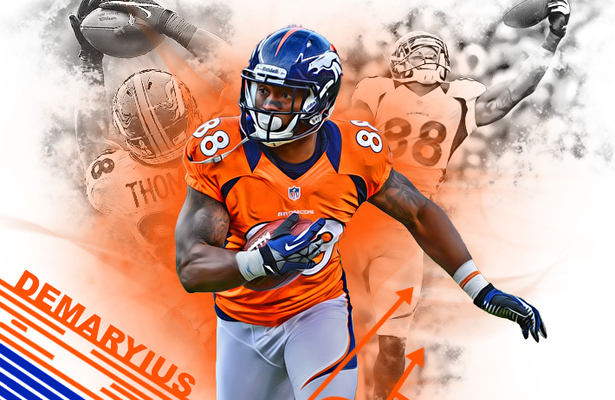 Demaryius Thomas leads the Broncos receiving corps with nine receptions through two games. Image Courtesy: Shea Huening