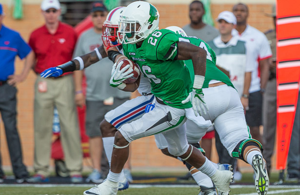 Mean Green RB Jeffrey Wilson had over 140 yards of offense and a touchdown against the Mustangs. Photo Courtesy: Sandy McAnally