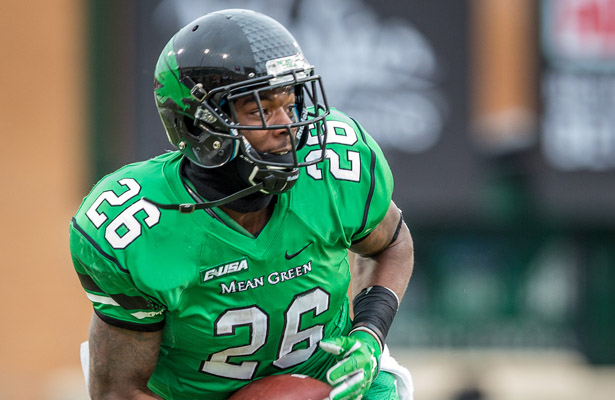 Mean Green RB Jeffrey Wilson found the end zone once and rushed for 86 yards against the Mustangs. Photo Courtesy: Sandy McAnally