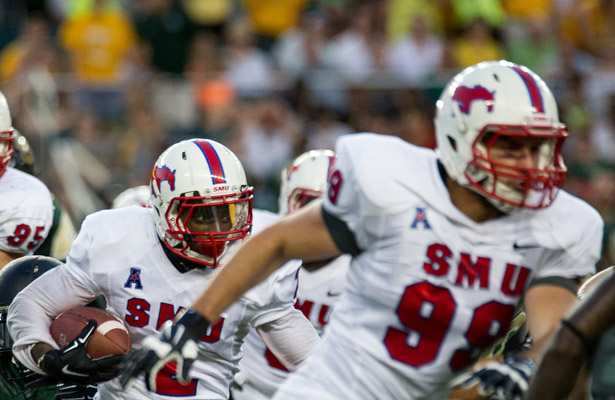 Justin Lawler (#99) does a little bit of everything for the SMU Mustangs. Photo Courtesy: Matthew Lynch
