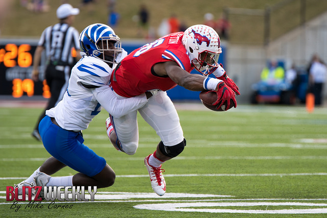 Mustangs WR Courtland Sutton had an epic game with 252 yards receiving and two TDs. Photo Courtesy: Michael Carnes