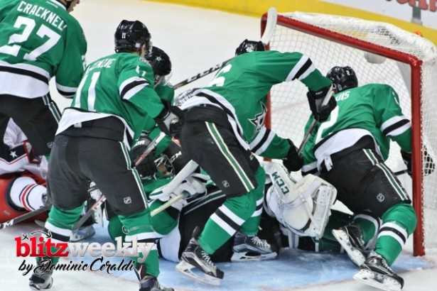 A mad scramble in their own net. That's a good image to sum up the start of the Stars season. Photo Courtesy: Dominic Ceraldi