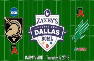 The Mean Green defeated the Black Knights earlier this season and look to do so again at the Zaxby's Heart of Dallas Bowl. Photo Courtesy: Zaxby's Heart of Dallas Bowl Facebook Page