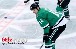 Awkward family moment: Jamie Benn was pitted against his brother for the first time in their hockey careers on Tuesday.  Photo Courtesy: Dominic Ceraldi