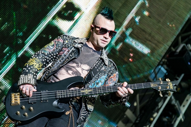 Bassist and backing vocalist Johnny Christ of Avenged Sevenfold doing his thing as part of the opening act. Photo Courtesy: Matt Pearce