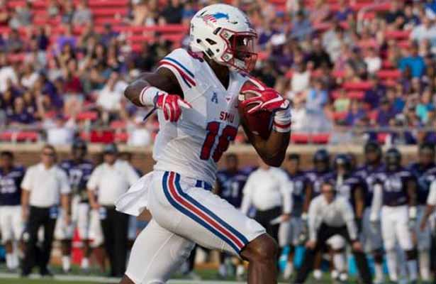 Mustangs WR Courtland Sutton had a huge game against the Mean Green with 8 receptions, 163 yards and 4 TDs. Photo Courtesy: Michael Carnes