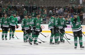 All smiles on home-ice, but the Stars success at home has not translated to the road. The Stars enter a tough stretch of road games as losers of their last five away from the AAC. Photo Courtesy: Michael Kolch