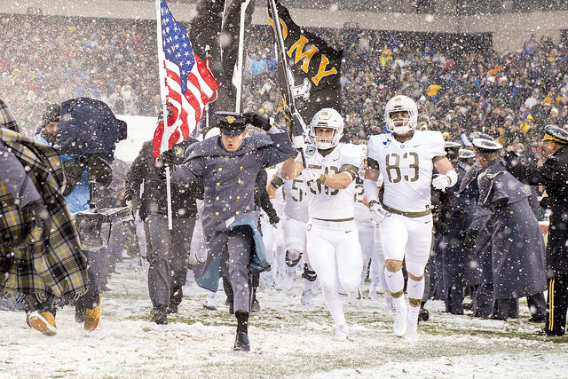 Army Black Knights of the United States Military Academy in West Point, N.Y. take the field for the 118th Army-Navy Game in Philadelphia Dec. 9, 2017. Photo Courtesy:  EJ Hersom