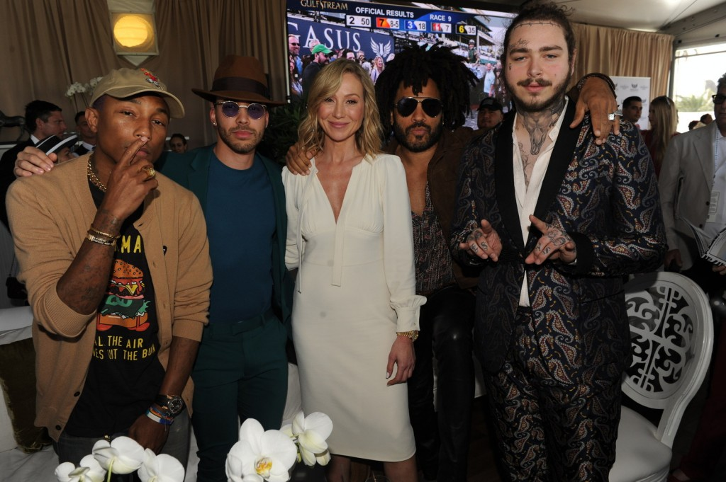 Pharrell Williams, Prince Royce, Belinda Stronach, Lenny Kravitz, & Post Malone at the $16 Million Pegasus World Cup Invitational (Photo Credit World Red Eye/ The Stronach Group)