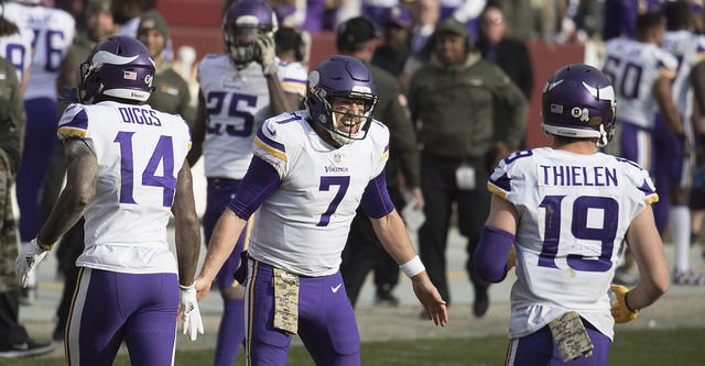 Case Keenum and the Vikings plan on celebrating after their game with Eagles for a trip to the Super Bowl. Photo Courtesy: Keith Allison