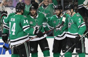 Top line can celebrate again. Jamie Benn, Tyler Seguin and Alexander Radulov are line mates once again, and the production is noticeable. Each scored in their dominating win against the Oilers. Photo Courtesy: Michael Kolch