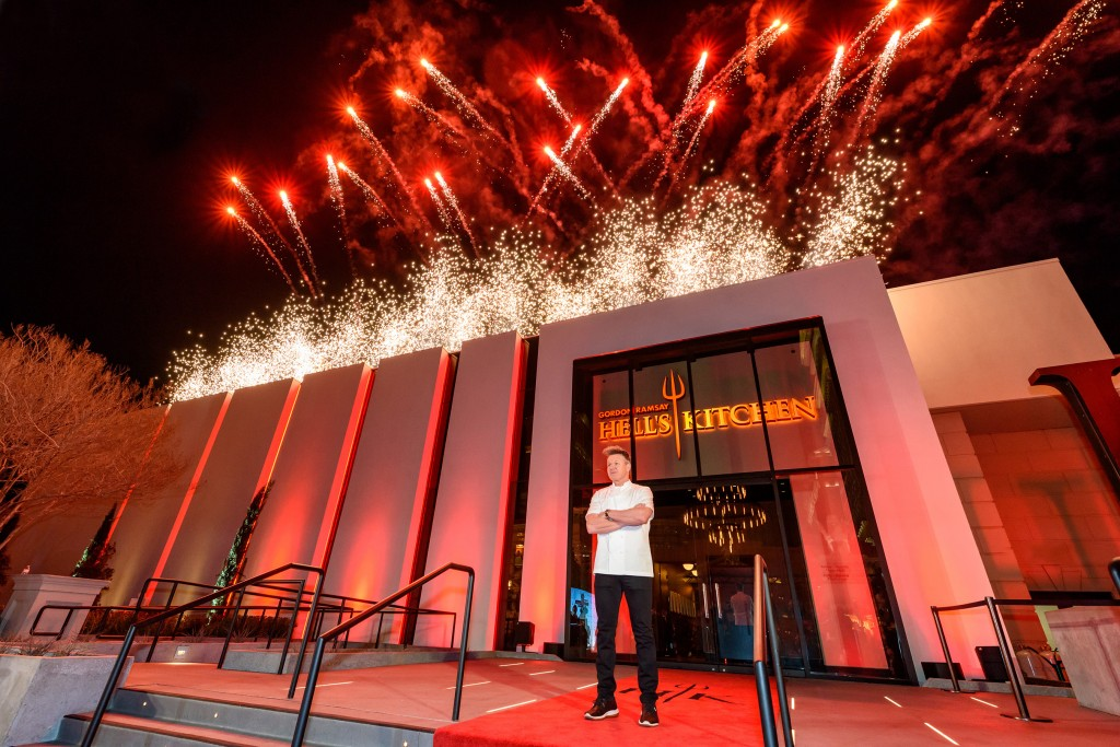 Pyrotechnics light up the sky in Las Vegas as Chef Gordon Ramsay celebrates the grand opening of the world's first Gordon Ramsay HELL'S KITCHEN restaurant at Caesars Palace (Photo courtesy of Caesars Entertainment)