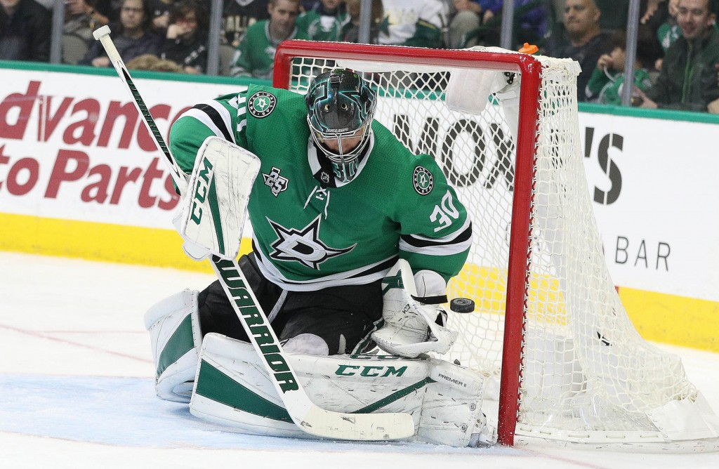Ben Bishop survived an injury scare as a puck hit the Stars' goaltender in the face on the bench. Bishop played against the Rangers on Monday, stopping 31 shots. Photo Courtesy: Michael Kolch